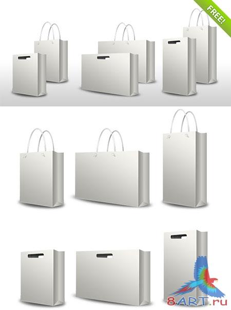 Серые пакеты из бумаги с ручками и прорезями 3-х форм: стандарт, шире и...