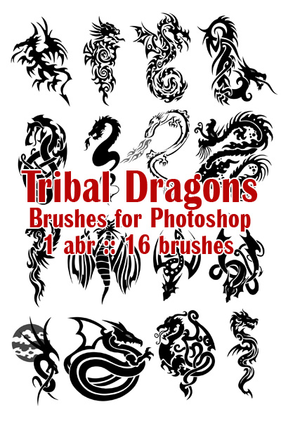 Tribal Dragons. Кисти для Photoshop