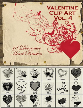 Valentine Clip Art Vol.4 -18 Heart Photoshop Brushes