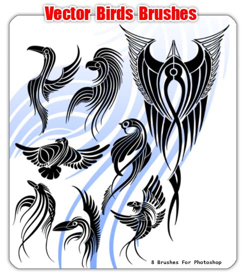 Vector Birds Brushes - 8 кистей для Photoshop