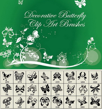 21 Butterfly Clip Art Photoshop Brushes