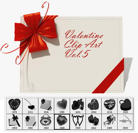 Valentine Clip Art Vol.5 -15 Hearts, Love Notes Photoshop Brushes