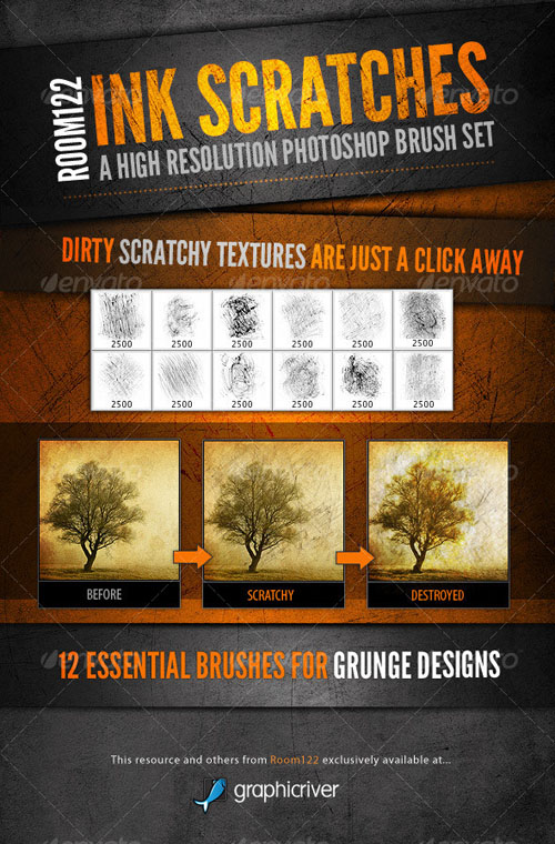GraphicRiver - Ink Scratches Photoshop Brush Set