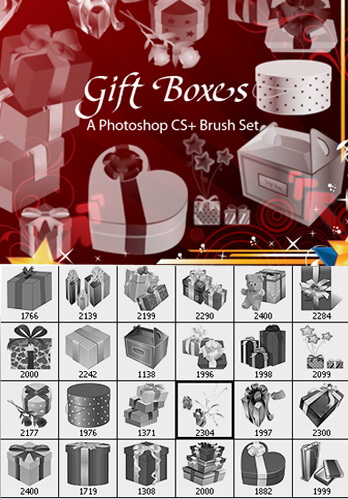 24 Lovely Gift Boxes as Photoshop Brushes