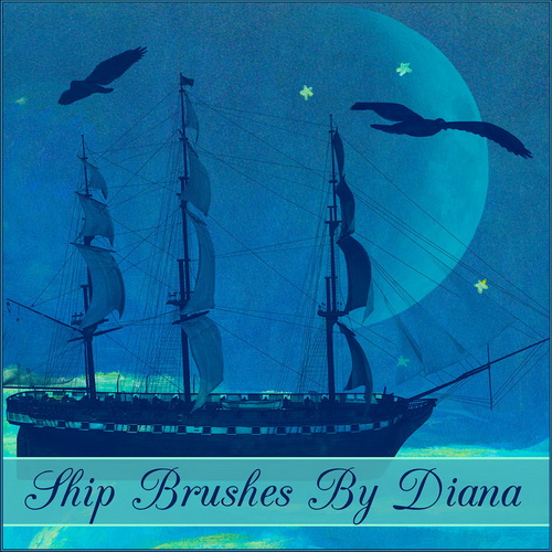 Ship & Watches Vintage Brushes 1 by Diana Creations  Кисти - Корабли и часы