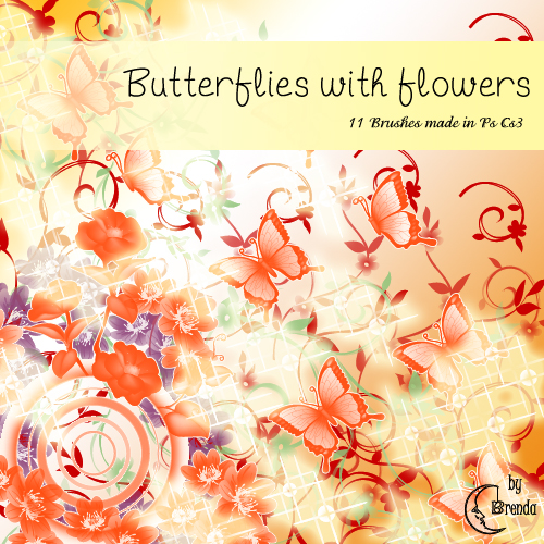 Кисти для Photoshop - Butterflies with Flowers by Brenda