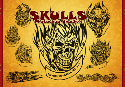 Flaming Skull Tattoos Photoshop Brushes