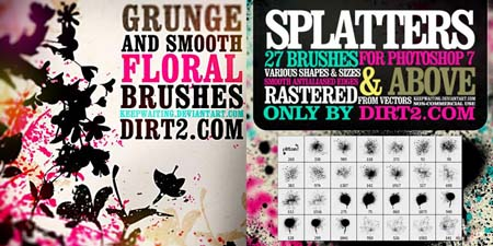 Spraypaint Splatter & Floral Photoshop Brushes by KeepWaiting
