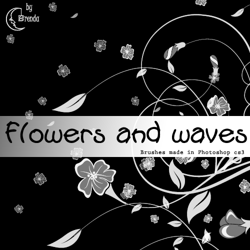 Кисти для Photoshop - Flowers and Waves by Brenda