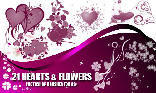 ����� ��� Photoshop - Heart and Flower Brushes