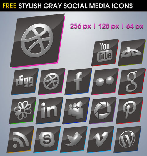 Stylish Gray Social Media Icons