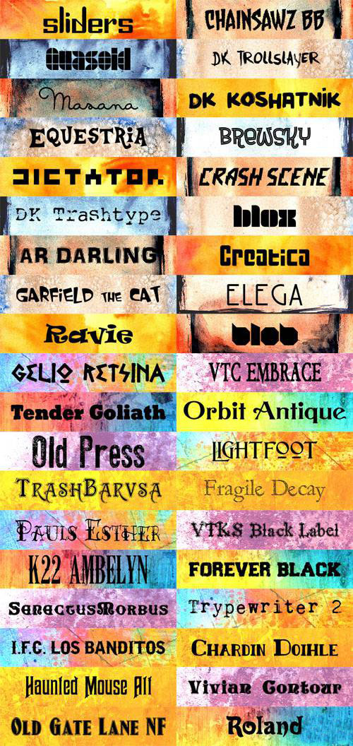 Exclusive Collection of Colorful Fonts