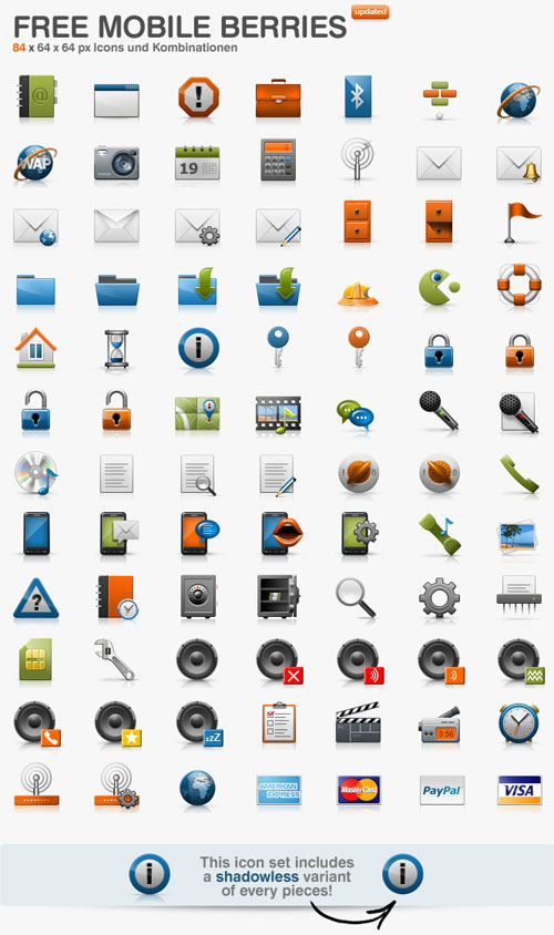 Mobile Berries Icon Set