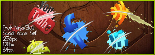 Fruit Ninja Slice Social Icons Set