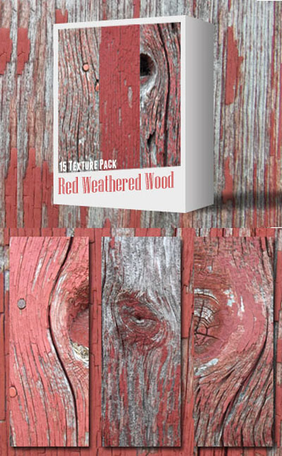 Red Weathered Wood Textures Pack