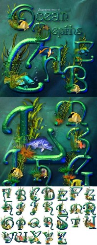 Fonts for Adobe Photoshop - The ocean Alphabet of Depths
