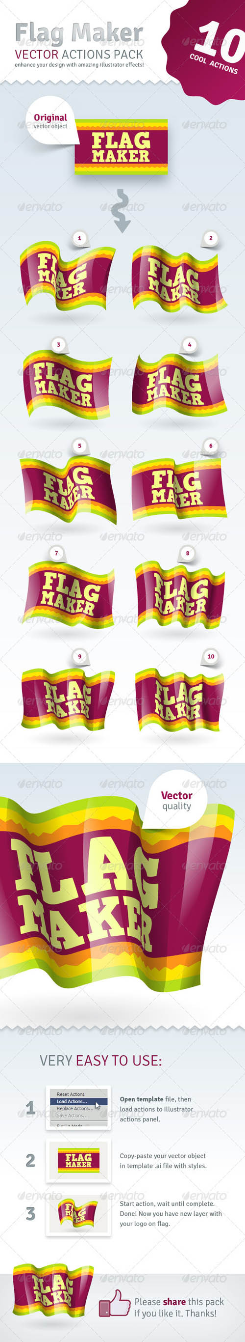 GraphicRiver Vector Flag Maker - Illustrator Actions Pack