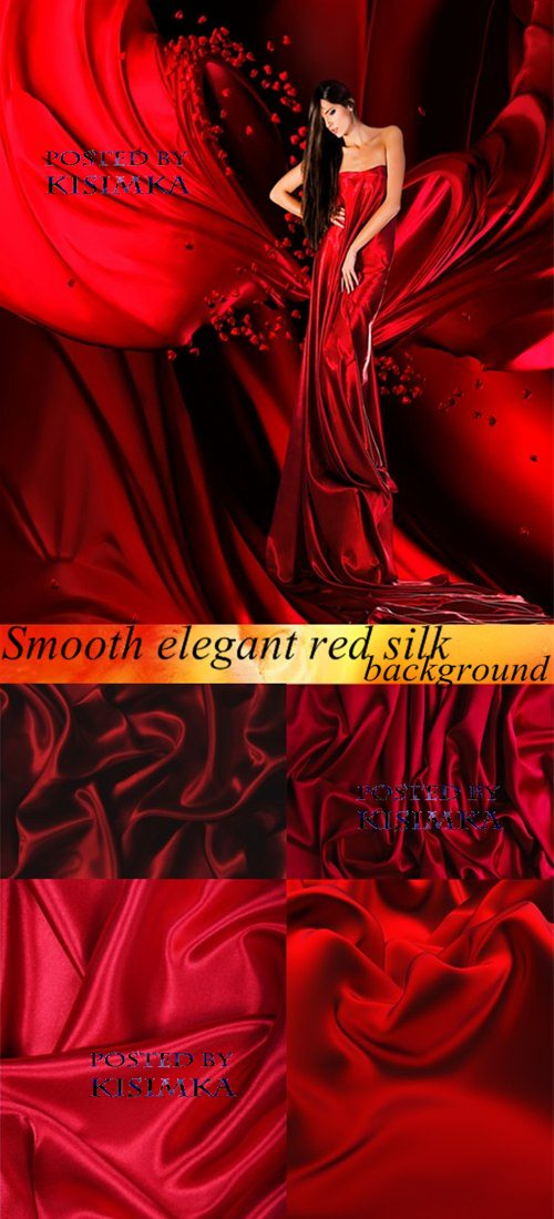 Stock Photo: Smooth elegant red silk background