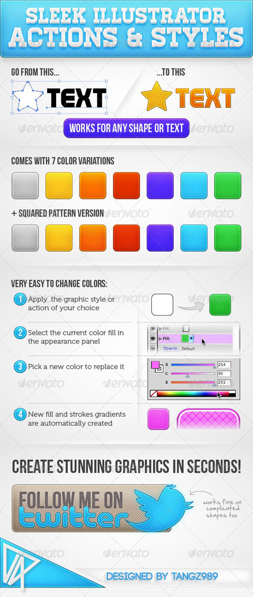 GraphicRiver Sleek Illustrator Actions & Styles - REUPLOAD