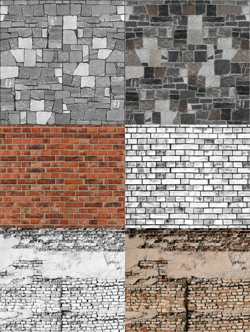 A set of stone walls texture