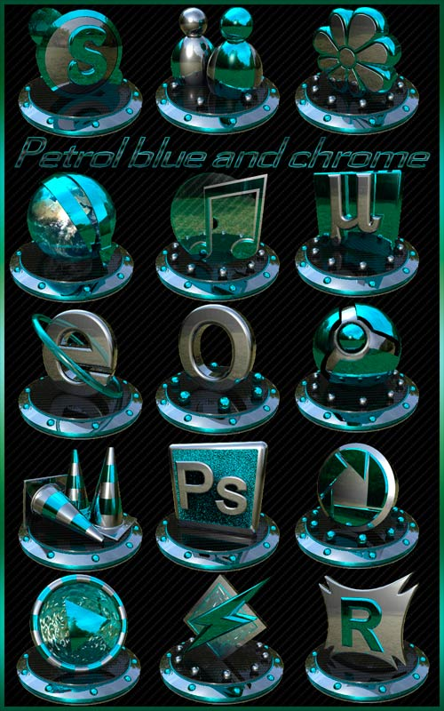 Petrol blue and chrome icons