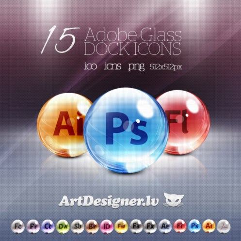 Adobe Glass 15icons Artdesigner