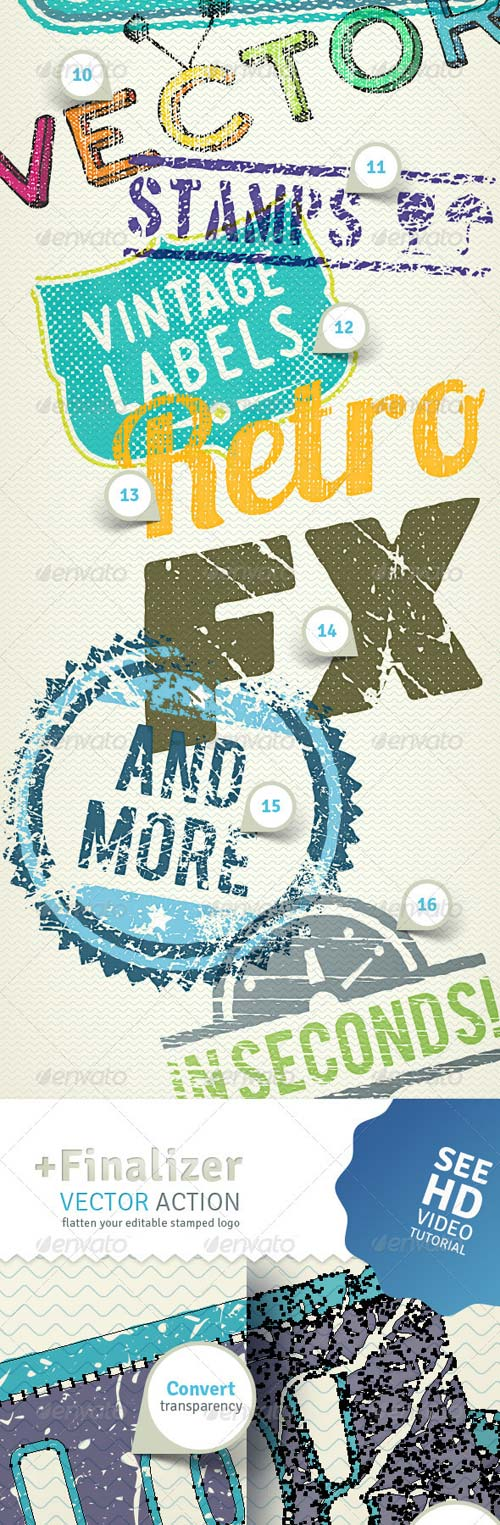 GraphicRiver 2D Trash Stamper - Vector Actions Pack