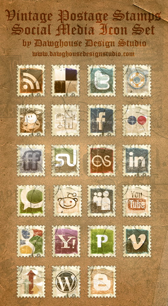 Vintage Postage Stamp Icons by Dawghouse - Винтажные иконки-марки