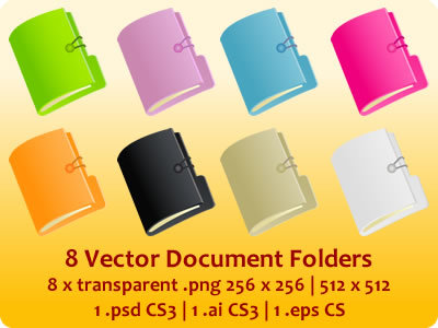 Vector Document Folders Icons
