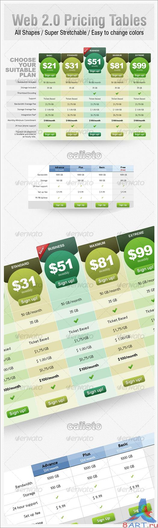 Web 2.0 Pricing Tables - GraphicRiver