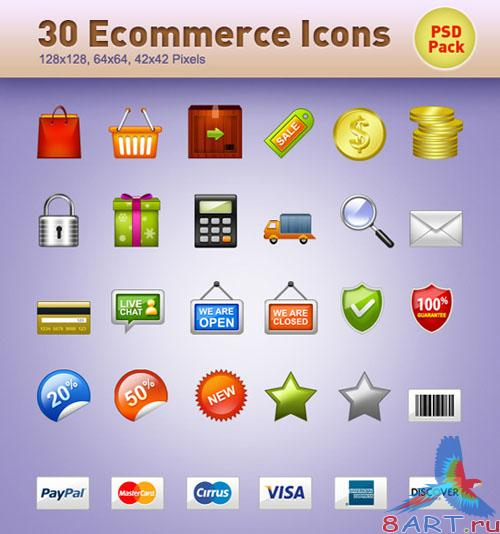 PSD Template - 30 E-Commerce Icons