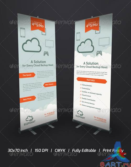 GraphicRiver Elephant Cloud Roll-Up Banner