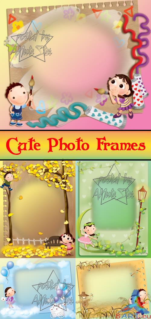 �������������� ������� ���������  Cute Photo Frames PSD Collections