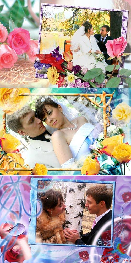 Weddings PSD Frames Cillage For Adobe Photoshop Vol.7