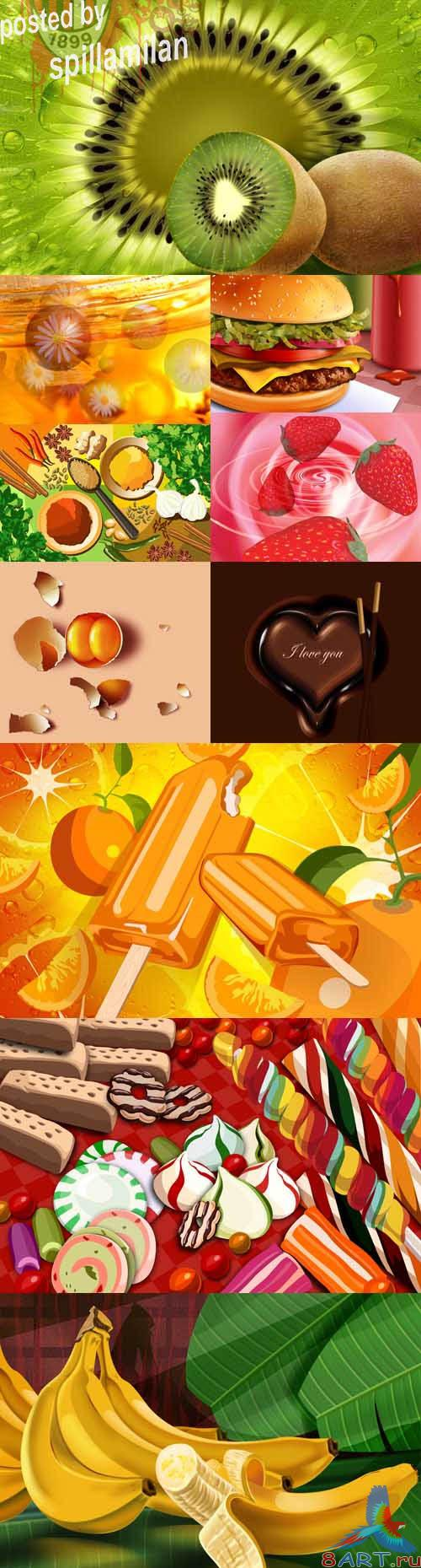 Collection of fruits and sweets Psd Sources for Photoshop