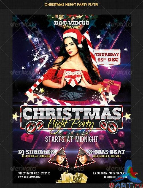 GraphicRiver Christmas Night Party Flyer 3461511