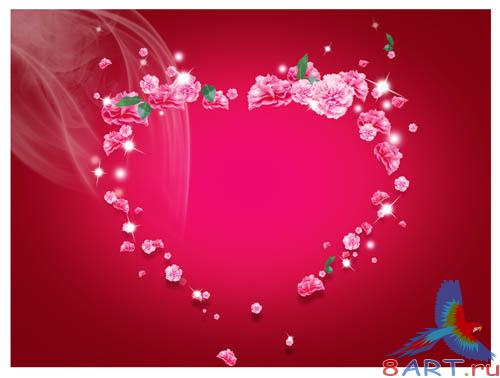 PSD - Flowers Heart Template