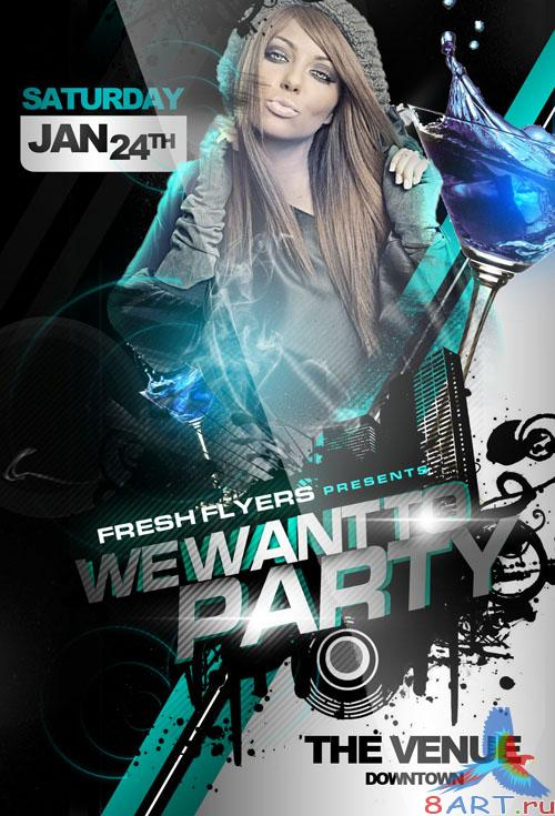 PSD Template - We Want to Party Club