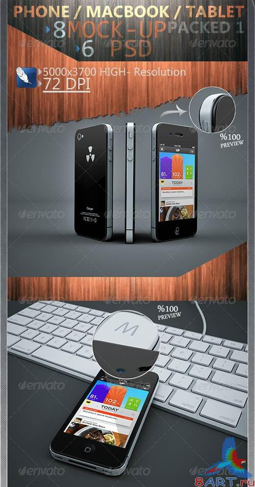 GraphicRiver Phone / Macbook / Tablet Mock-Ups Packed 1