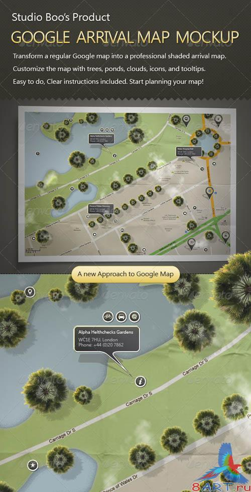 GraphicRiver Google Arrival Map Mock-up