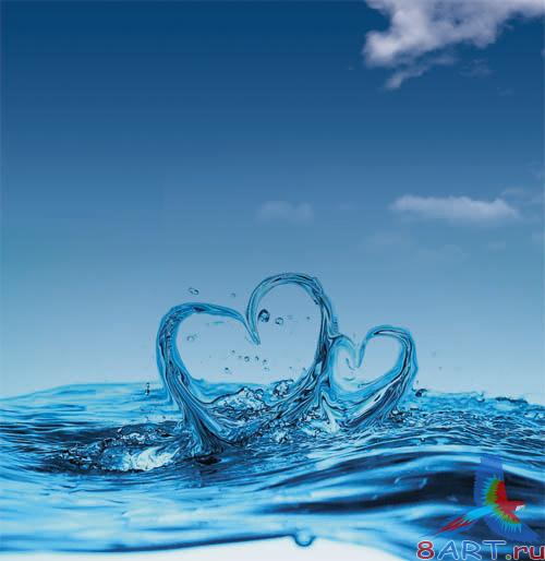 PSD - Water Hearts Template