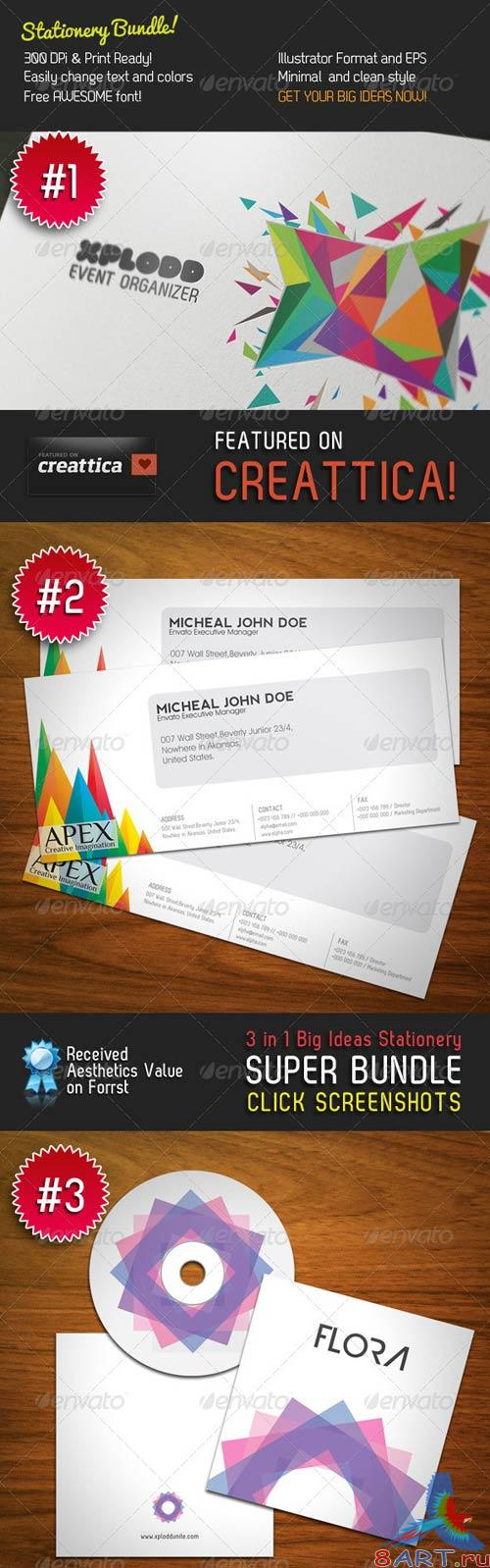 GraphicRiver Big Ideas Stationery 3 in 1 Bundle