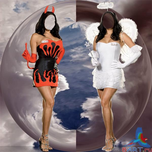 Angel and Devil - ������������ ������ �� ����������� � ������� ������� Photoshop