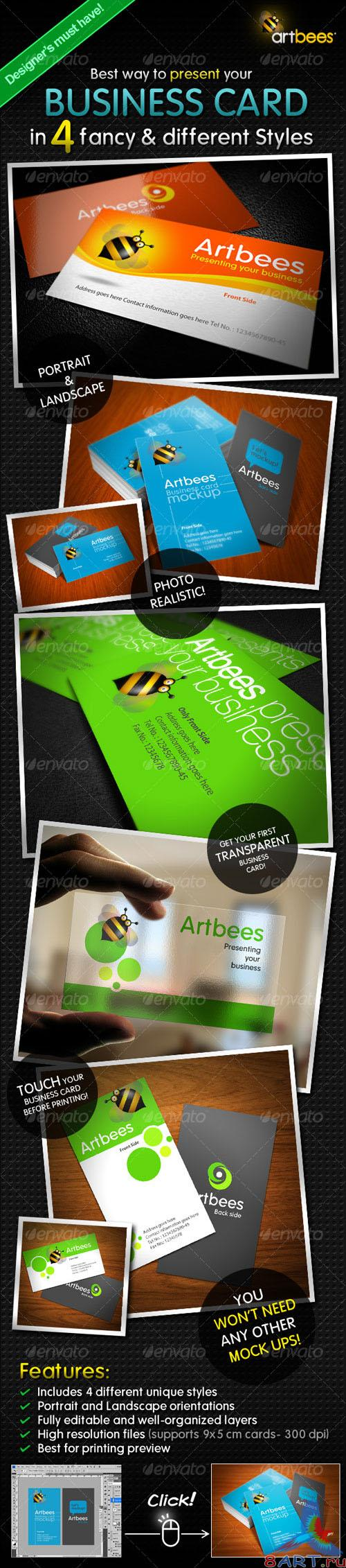 GraphicRiver - Great Business Card Mock-up Pack - 4 Styles