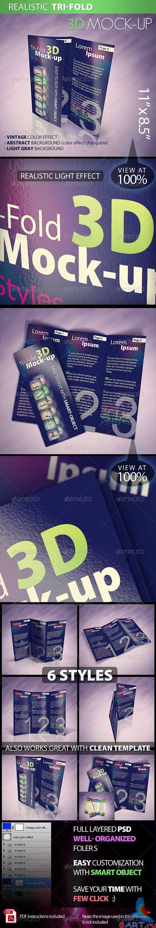 GraphicRiver Tri-fold 3D Mock-up Pack - REUPLOAD
