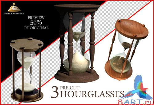 3 Old Hourglasses PSD Template