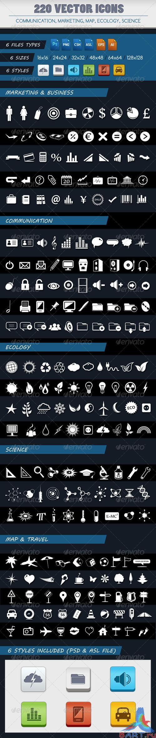 GraphicRiver - 220 VECTOR ICONS OF 5 CATEGORIES 2498338
