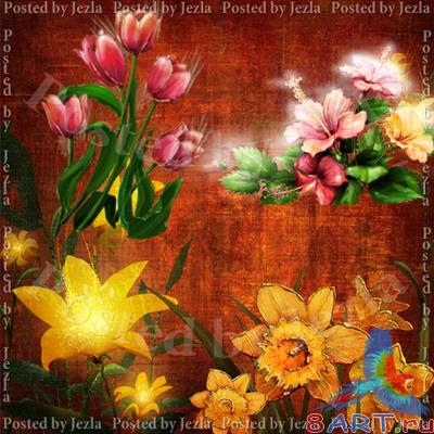 PSD ��������� - ����� � ������ (Flowers on the Canvas)