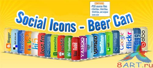 PSD Template - Social Icons on a Beer Can