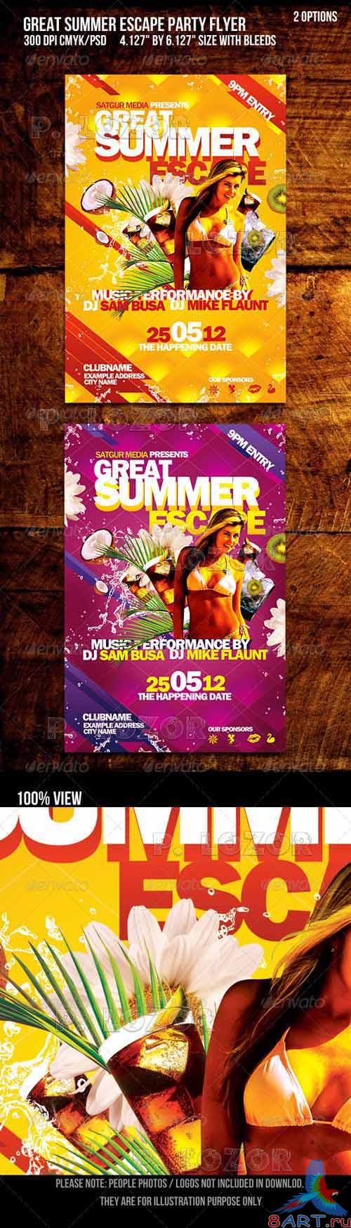 Great Summer Escape Beach summer Party Flyer